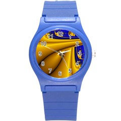 Waves Wave Chevron Gold Blue Paint Space Sky Round Plastic Sport Watch (s) by Mariart