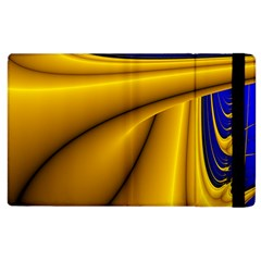 Waves Wave Chevron Gold Blue Paint Space Sky Apple Ipad 2 Flip Case by Mariart