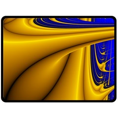 Waves Wave Chevron Gold Blue Paint Space Sky Double Sided Fleece Blanket (large)  by Mariart