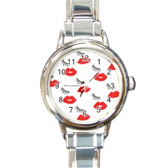 Smooch Pattern Design Round Italian Charm Watch