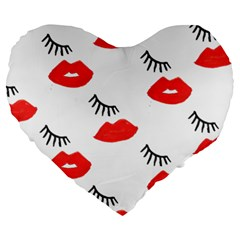 Smooch Pattern Design Large 19  Premium Heart Shape Cushions
