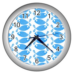 Fish Pattern Background Wall Clocks (silver)  by Nexatart