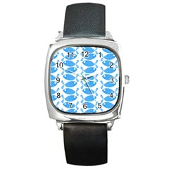 Fish Pattern Background Square Metal Watch