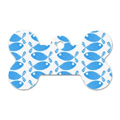 Fish Pattern Background Dog Tag Bone (two Sides) by Nexatart