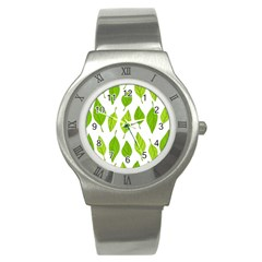Spring Pattern Stainless Steel Watch by Nexatart