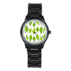 Spring Pattern Stainless Steel Round Watch by Nexatart