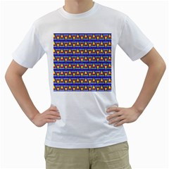 Seamless Prismatic Pythagorean Pattern Men s T Shirt (white) (two Sided)