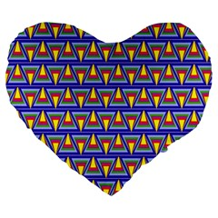 Seamless Prismatic Pythagorean Pattern Large 19  Premium Heart Shape Cushions by Nexatart