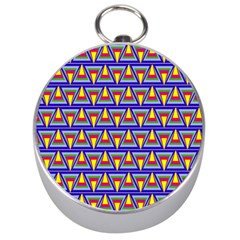 Seamless Prismatic Pythagorean Pattern Silver Compasses