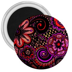 Sunset Floral 3  Magnets by Nexatart