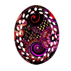 Sunset Floral Oval Filigree Ornament (two Sides) by Nexatart