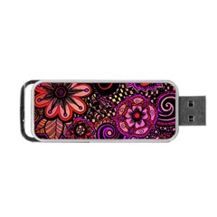 Sunset Floral Portable Usb Flash (two Sides) by Nexatart