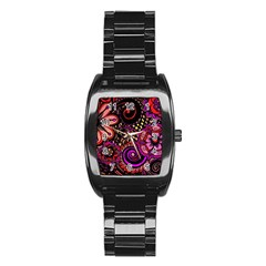 Sunset Floral Stainless Steel Barrel Watch