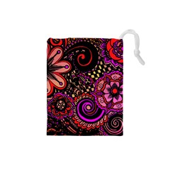 Sunset Floral Drawstring Pouches (small)