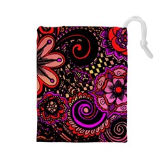 Sunset Floral Drawstring Pouches (large)