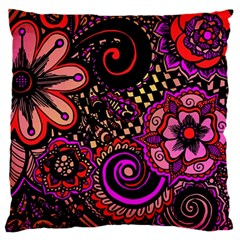 Sunset Floral Large Flano Cushion Case (two Sides)