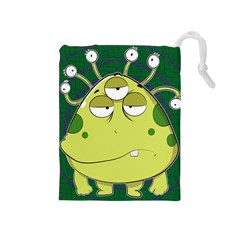 The Most Ugly Alien Ever Drawstring Pouches (medium)  by Catifornia