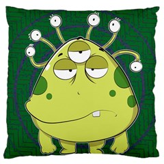 The Most Ugly Alien Ever Large Flano Cushion Case (two Sides) by Catifornia