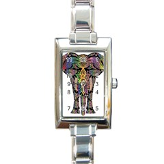 Prismatic Floral Pattern Elephant Rectangle Italian Charm Watch
