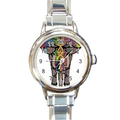 Prismatic Floral Pattern Elephant Round Italian Charm Watch by Nexatart
