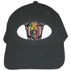 Prismatic Floral Pattern Elephant Black Cap