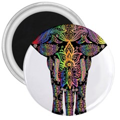 Prismatic Floral Pattern Elephant 3  Magnets by Nexatart