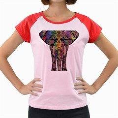 Prismatic Floral Pattern Elephant Women s Cap Sleeve T Shirt