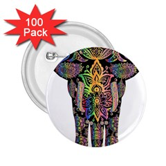 Prismatic Floral Pattern Elephant 2 25  Buttons (100 Pack)  by Nexatart