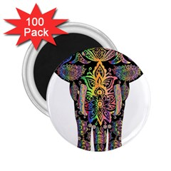 Prismatic Floral Pattern Elephant 2 25  Magnets (100 Pack)  by Nexatart