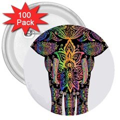 Prismatic Floral Pattern Elephant 3  Buttons (100 Pack)