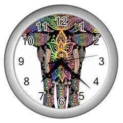 Prismatic Floral Pattern Elephant Wall Clocks (silver)  by Nexatart