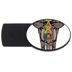Prismatic Floral Pattern Elephant Usb Flash Drive Oval (2 Gb)