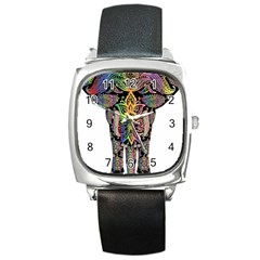 Prismatic Floral Pattern Elephant Square Metal Watch