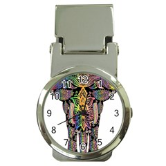 Prismatic Floral Pattern Elephant Money Clip Watches by Nexatart