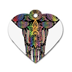 Prismatic Floral Pattern Elephant Dog Tag Heart (one Side)