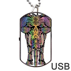 Prismatic Floral Pattern Elephant Dog Tag Usb Flash (one Side) by Nexatart
