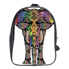Prismatic Floral Pattern Elephant School Bags (xl)  by Nexatart