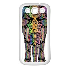 Prismatic Floral Pattern Elephant Samsung Galaxy S3 Back Case (white) by Nexatart