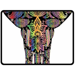 Prismatic Floral Pattern Elephant Double Sided Fleece Blanket (large)  by Nexatart