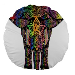 Prismatic Floral Pattern Elephant Large 18  Premium Flano Round Cushions by Nexatart