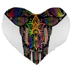 Prismatic Floral Pattern Elephant Large 19  Premium Flano Heart Shape Cushions