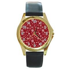 Merry Christmas Pattern Round Gold Metal Watch by Nexatart