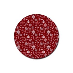 Merry Christmas Pattern Rubber Round Coaster (4 Pack)