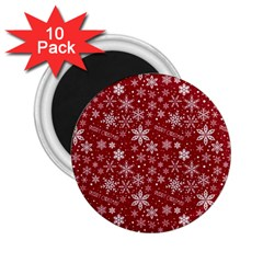 Merry Christmas Pattern 2 25  Magnets (10 Pack)  by Nexatart