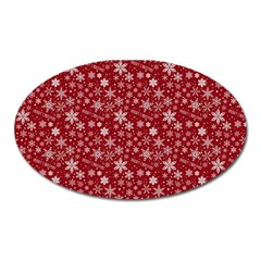 Merry Christmas Pattern Oval Magnet by Nexatart