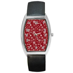 Merry Christmas Pattern Barrel Style Metal Watch by Nexatart