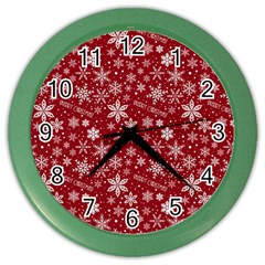 Merry Christmas Pattern Color Wall Clocks by Nexatart