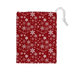 Merry Christmas Pattern Drawstring Pouches (large)