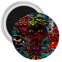 Abstract Psychedelic Face Nightmare Eyes Font Horror Fantasy Artwork 3  Magnets