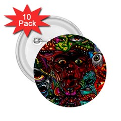 Abstract Psychedelic Face Nightmare Eyes Font Horror Fantasy Artwork 2 25  Buttons (10 Pack)  by Nexatart